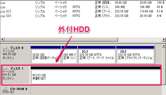 外付けHDDのパーテーション化する方法。Win7