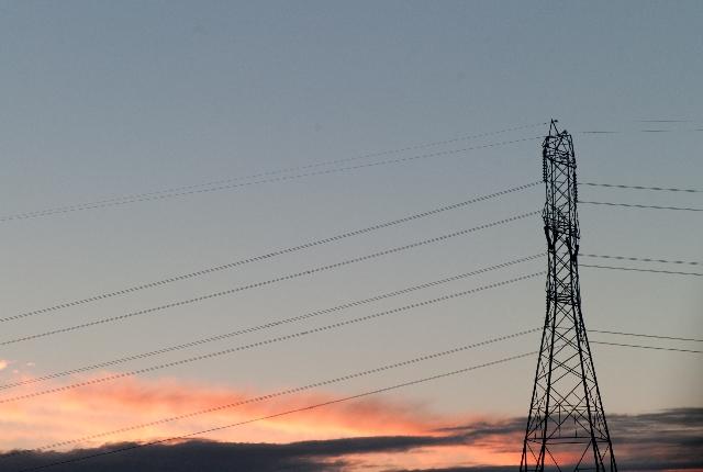送電網,夕焼け